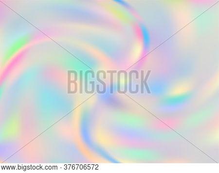 Hologram Effect Glitch Gradient Vector Design. Fashionable Pastel Rainbow Unicorn Background. Polar