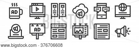 12 Set Of Linear Advertisement Icons. Thin Outline Icons Such As Megaphone, Billboard, Billboard, Mo