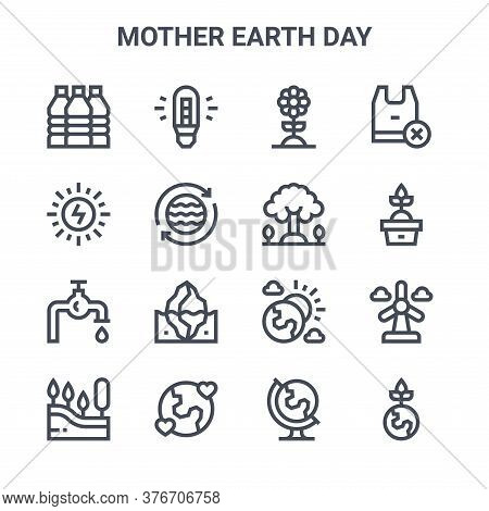 Set Of 16 Mother Earth Day Concept Vector Line Icons. 64x64 Thin Stroke Icons Such As Led, Solar Ene