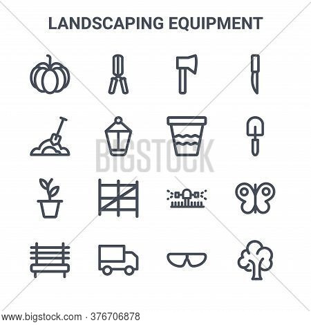 Set Of 16 Landscaping Equipment Concept Vector Line Icons. 64x64 Thin Stroke Icons Such As Pruning S