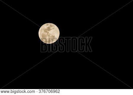 Full Moon On The Dark Night In Thailand.