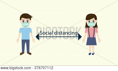 Social Distancing For Disease Wearing Mask For Prevent Corona Virus And  Keeping Distance For Infect