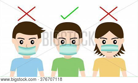 How To Wear A Mask To Prevent Viruses And Social Distancing For Disease Wearing Mask For Prevent Cor
