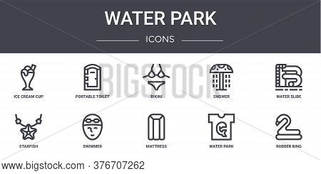 Water Park Concept Line Icons Set. Contains Icons Usable For Web, Logo, Ui Ux Such As Portable Toile