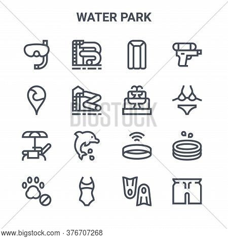 Set Of 16 Water Park Concept Vector Line Icons. 64x64 Thin Stroke Icons Such As Water Slide, Locatio