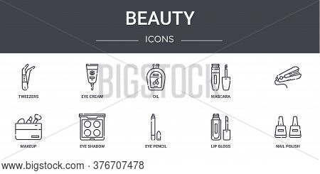 Beauty Concept Line Icons Set. Contains Icons Usable For Web, Logo, Ui Ux Such As Eye Cream, Mascara