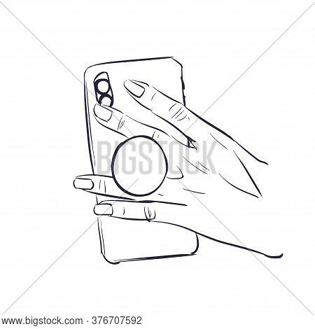 Accessory Holder For Smartphone. Suction Cup Ring On Phone Between Fingers. Mobile Ring Sketch Holde