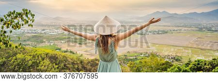 Young Woman Tourist In A Traditional Vietnamese Hat Travels To Vietnam Banner, Long Format