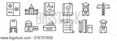 12 Set Of Linear Academy Icons. Thin Outline Icons Such As Student, Exam, Language, Student, Grammar