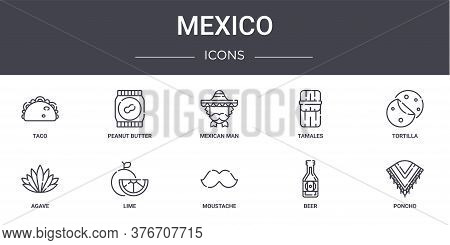 Mexico Concept Line Icons Set. Contains Icons Usable For Web, Logo, Ui Ux Such As Peanut Butter, Tam