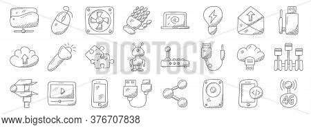 Technology Line Icons. Linear Set. Quality Vector Line Set Such As Wireless, Speaker Box, Usb Cable,