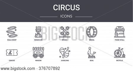 Circus Concept Line Icons Set. Contains Icons Usable For Web, Logo, Ui Ux Such As Magician, Wheel, C