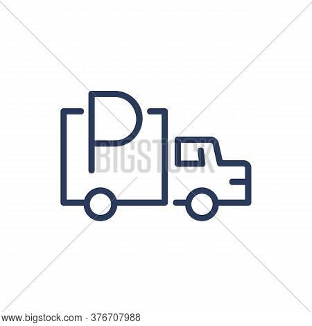 Lorry Parking Thin Line Icon. Truck, Van, Allowed Symbol Isolated Outline Sign. Parking, Driving, Tr