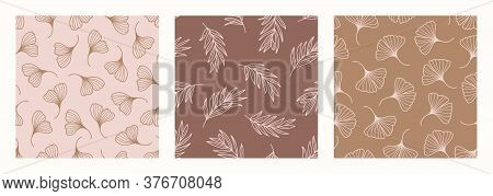 Palm Ginkgo Biloba Leaves Seamless Pattern In A Trendy Minimal Style. Outline Of A Tropical Palm Bac