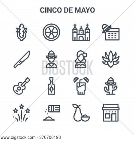 Set Of 16 Cinco De Mayo Concept Vector Line Icons. 64x64 Thin Stroke Icons Such As Lime, Machete, Ag