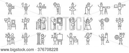 General Arts Line Icons. Linear Set. Quality Vector Line Set Such As Geography, Jewelry, Painting, S