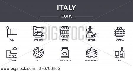 Italy Concept Line Icons Set. Contains Icons Usable For Web, Logo, Ui Ux Such As Spaghetti, Olive Oi