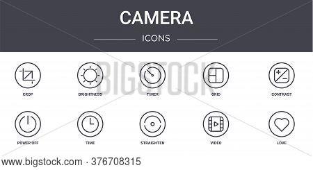 Camera Concept Line Icons Set. Contains Icons Usable For Web, Logo, Ui Ux Such As Brightness, Grid,