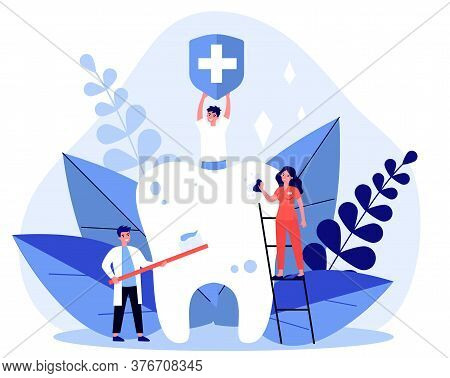 Tiny People Cleaning Big Tooth Flat Illustration. Man Holding Banner With Medical Symbol. Doctor And