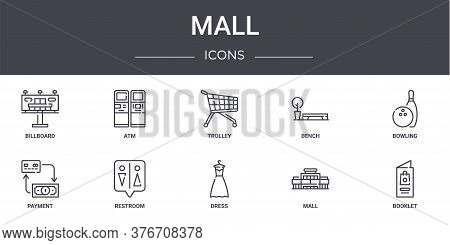 Mall Concept Line Icons Set. Contains Icons Usable For Web, Logo, Ui Ux Such As Atm, Bench, Payment,