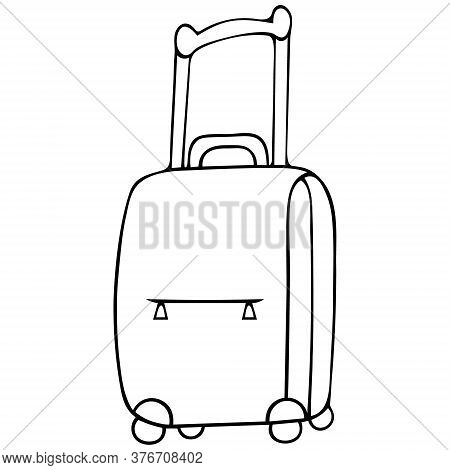 Suitcase. Sketch. Vector Stock Illustration. Outline On An Isolated White Background. Doodle Style.