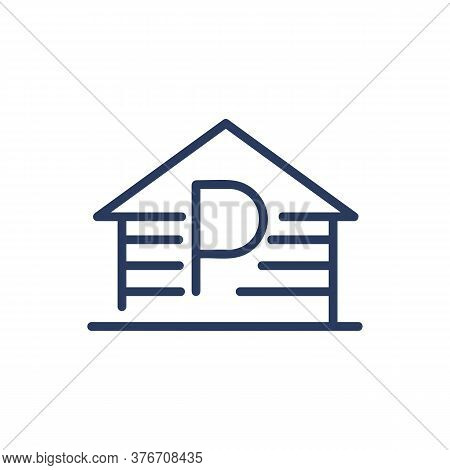 Parking Garage Thin Line Icon. Construction, Lot, Property Isolated Outline Sign. Transportation, Tr