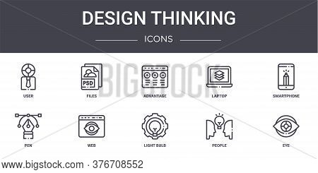 Design Thinking Concept Line Icons Set. Contains Icons Usable For Web, Logo, Ui Ux Such As Files, La