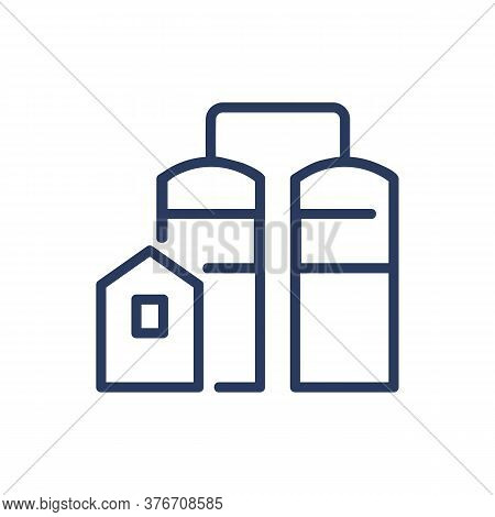 Elevator Thin Line Icon. Building, Grain Containers, Tank, Warehouse, Storage Isolated Outline Sign.