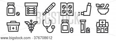 12 Set Of Linear Pharmacy Icons. Thin Outline Icons Such As Pharmacy, Capsules, Caduceus, Inhalator,