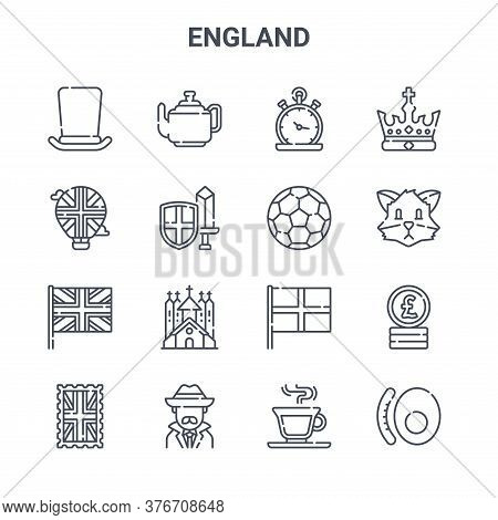 Set Of 16 England Concept Vector Line Icons. 64x64 Thin Stroke Icons Such As Teapot, Hot Air Balloon