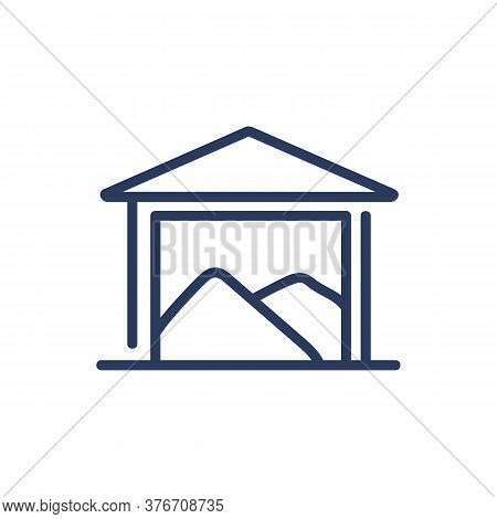 Warehouse Thin Line Icon. Building, Storage, Heap Of Grain Isolated Outline Sign. Grain Production,