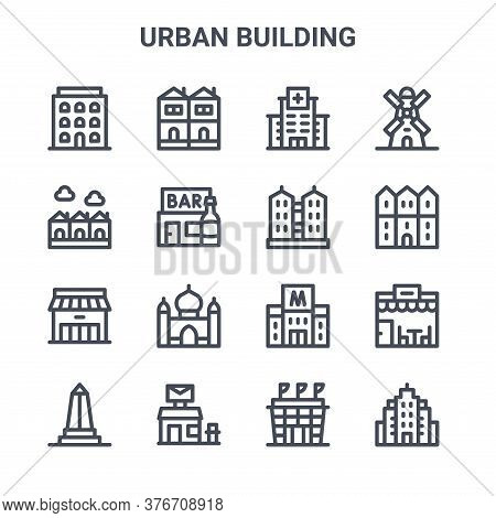Set Of 16 Urban Building Concept Vector Line Icons. 64x64 Thin Stroke Icons Such As Terraced House,