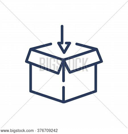 Open Box And Arrow Thin Line Icon. Cardboard, Parcel, Import Isolated Outline Sign. Delivery And Shi