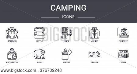 Camping Concept Line Icons Set. Contains Icons Usable For Web, Logo, Ui Ux Such As Kettle, Jacket, W