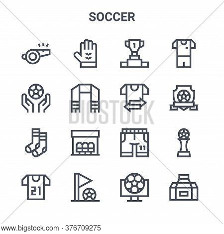Set Of 16 Soccer Concept Vector Line Icons. 64x64 Thin Stroke Icons Such As Goalkeeper, Soccer Ball,