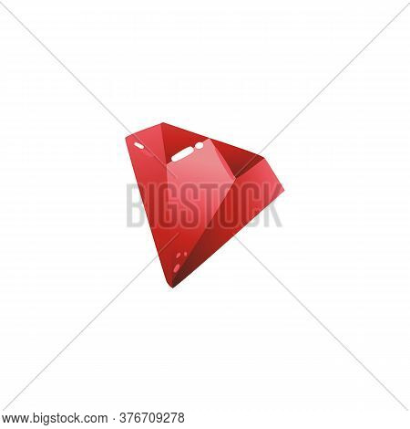 Beautiful Expensive Roubin Jewelry Faceted Stone Vector Illustration Isolated.