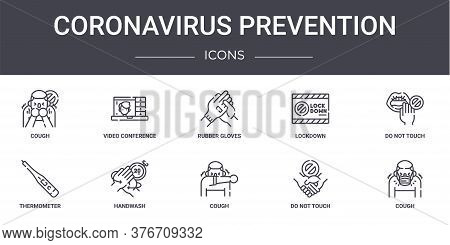 Coronavirus Prevention Concept Line Icons Set. Contains Icons Usable For Web, Logo, Ui Ux Such As Vi