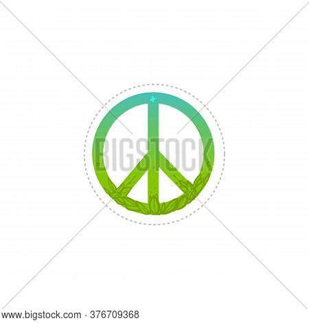 Pacifism And Green Peace Symbol, Hippie Sign.