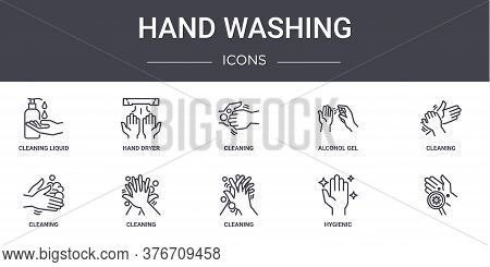 Hand Washing Concept Line Icons Set. Contains Icons Usable For Web, Logo, Ui Ux Such As Hand Dryer,