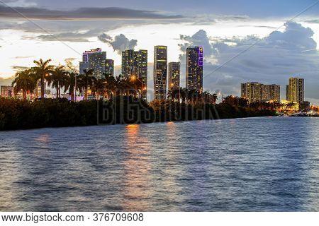 Miami Skyline At Night - Panoramic Image. Miami