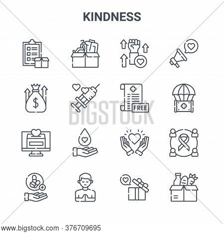 Set Of 16 Kindness Concept Vector Line Icons. 64x64 Thin Stroke Icons Such As Medical, Fundraising,