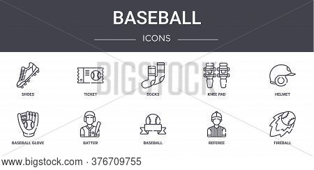 Baseball Concept Line Icons Set. Contains Icons Usable For Web, Logo, Ui Ux Such As Ticket, Knee Pad