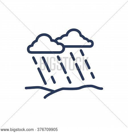 Rain In Field Thin Line Icon. Cloud, Thunderstorm, Stormy Weather Isolated Outline Sign. Nature, Wea