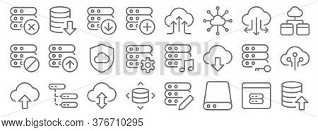 Work Office Server Line Icons. Linear Set. Quality Vector Line Set Such As Export, Database Storage,