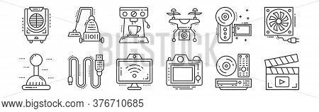 12 Set Of Linear Technology Devices Icons. Thin Outline Icons Such As Clapperboard, Camera, Data Cab