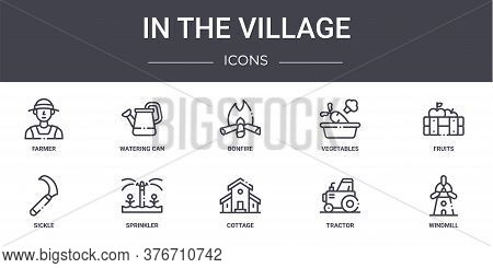 In The Village Concept Line Icons Set. Contains Icons Usable For Web, Logo, Ui Ux Such As Watering C
