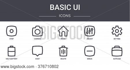Basic Ui Concept Line Icons Set. Contains Icons Usable For Web, Logo, Ui Ux Such As Camera, Adjust,