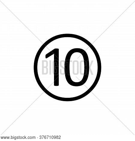 Simple Line Vector Number 10 Icon. Number 10 Vector Icon Illustration. Number 10 Icon In Simple Desi