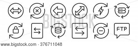 12 Set Of Linear Data Transfer Icons. Thin Outline Icons Such As Chat, Transfer, File Transfer, Ener