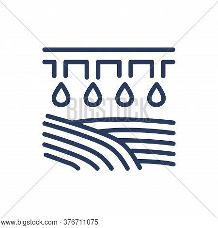 Irrigation Thin Line Icon. Heavy Machine Irrigating Field Isolated Outline Sign. Farming, Agricultur